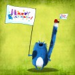 Happy Birthday Card Cat and Ladybug with Flags — Stock Photo #79919324