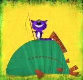 Cat Fisherman Standing on Huge Fish — Stock Photo
