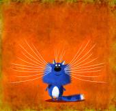 Blue Whiskered Kitten on Orange Background — Stock Photo