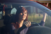 Angry girl in the car — Stock Photo