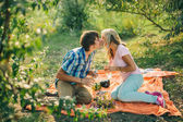 Teenage couple kissing on picnic — Stock Photo