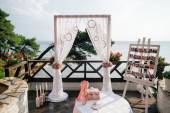 Destination wedding arch with decoration — Stock Photo