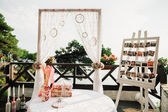 Pretty wedding ceremony decoration — Stock Photo