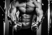 Bodybuilder guy in gym hands close up — Stok fotoğraf