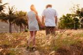 Honeymoon couple hands back view — Stock Photo