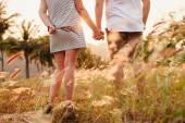 Honeymoon couple hands back view — Stock Photo