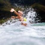 Happy girl sea waves splash — Stock Photo #71027571