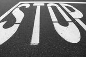 Close Up of Stop Sign on Street — Foto Stock