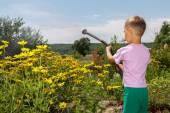 Boy helps parents. He is watering  flowers in the garden. — Stock Photo