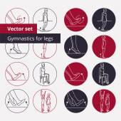 Outline icons for gymnastics — Stock Vector