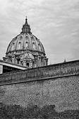 Vista de la cúpula de San Pedro en blanco y negro — Foto de Stock