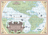 Old map of South and North America — Stock Photo