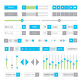 Blue    UI elements vector. Button, selector, ckeckbox, searchfield etc. — Stock Vector