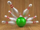 Bowling ball and scattered skittles — Fotografia Stock