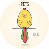 Cartoon funny cute bird — Stock Vector