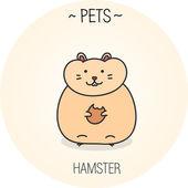 Cartoon funny cute hamster — Stock Vector