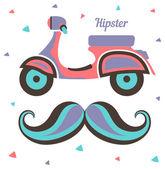 Motorino dell'annata e baffi hipster — Vettoriale Stock