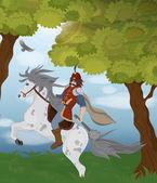 Caballero de dibujos animados sobre un caballo — Vector de stock