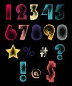 Dots textured numbers — Stock Vector