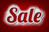 Sale Design on halftone background — Stock Vector