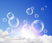 Soap bubbles in sky — Stock Vector