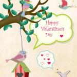 Valentine card with bird on birdhouse — Stock Vector #70092569