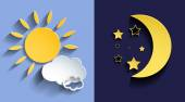 Illustration of day and night — Stock Vector