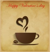 Valentine coffee background — Cтоковый вектор