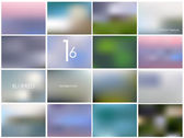 Set of 16 different landscape blurred backgrounds — Stock Vector