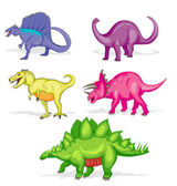 Set of five colorful dinosaurs — Stock Vector