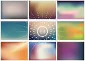 Set of 9 lanscape blurred backgrounds — Stock Vector