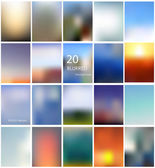 Set of 20 different blurred backgrounds — Stock Vector