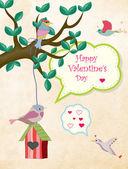 Valentine card with bird on birdhouse — Stock Vector
