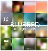 Set of 16 different blurred backgrounds — Stock Vector