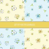 Set of four seamless floral pattern. — Stock Vector