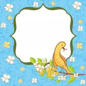 Greeting card with flowers and bird. — Stock Vector