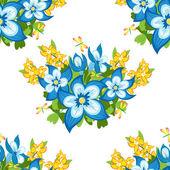 Çiçekler ve yapraklar ile sorunsuz doku — Stok Vektör