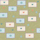 Naadloze patroon met enveloppen — Stockvector