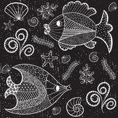 Marine seamless pattern. — Stock Vector