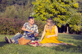 Young pregnant couple relaxing on a picnic in the park — Stock Photo