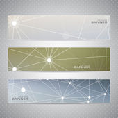Collection horizontal banners on blurred background . Molecule and communication. Vector illustration — 图库矢量图片