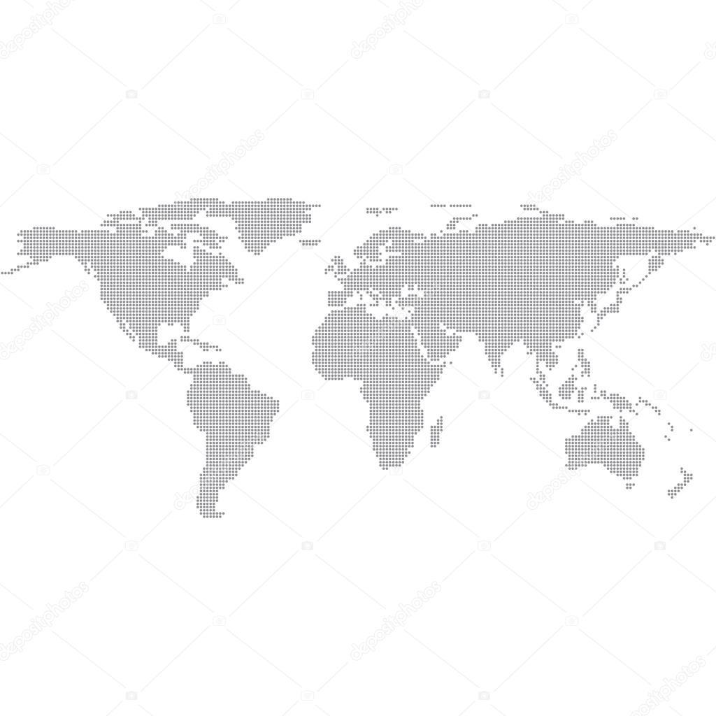 圆点灰色世界地图矢量图