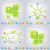 Modern green infographic design with place for your text. Business concept with 3, 4 options. Can be used for workflow layout, diagram, chart, number options, web design — Stock Vector