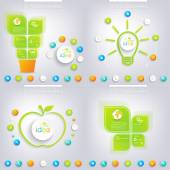 Modern green infographic design with place for your text. Business concept 3, 4 options. — Stock Vector