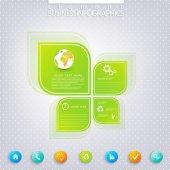 近代的な緑のインフォ グラフィック デザイン テキスト、ワークフロー、レイアウト、グラフ、オプション、web デザインのための場所。ベクトル図 — ストックベクタ