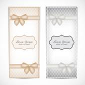 Two weddings invitation card in the vintage style for greeting cards, labels, invitations, posters, badges. Vector illustration — Stock Vector