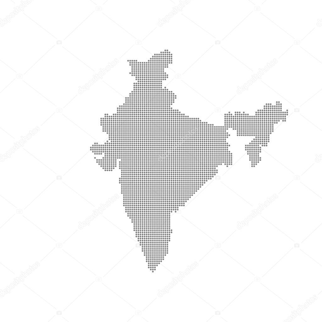 灰色地图印度点中.矢量图