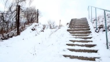 Broken stairs at countryside — Stock Video