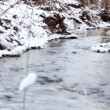 Ice water running in a fast spring creek. Snow on rocks in the water — Stock Video #66836857