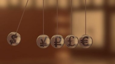 Newton's Cradle with currency sign — Stock Video